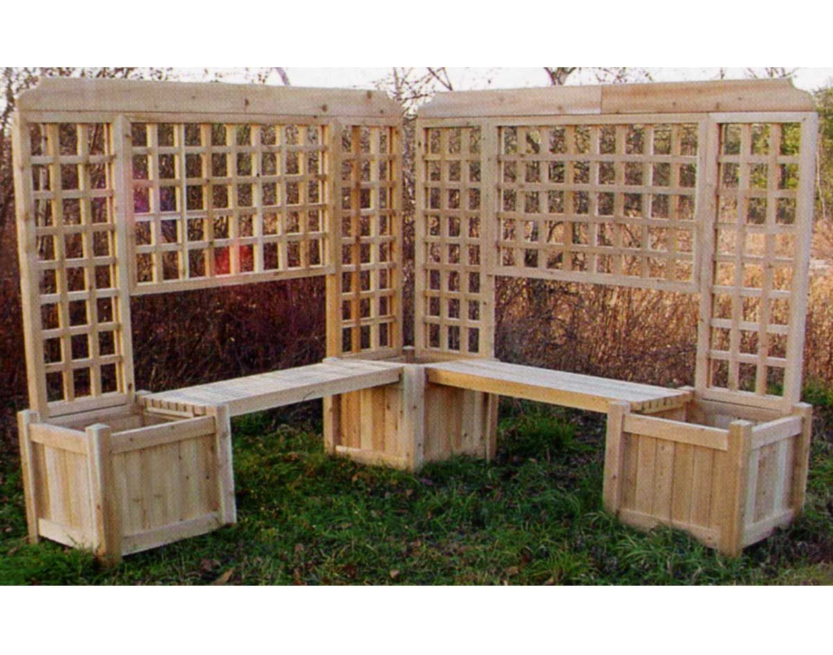 Double Planter Bench W Lattice