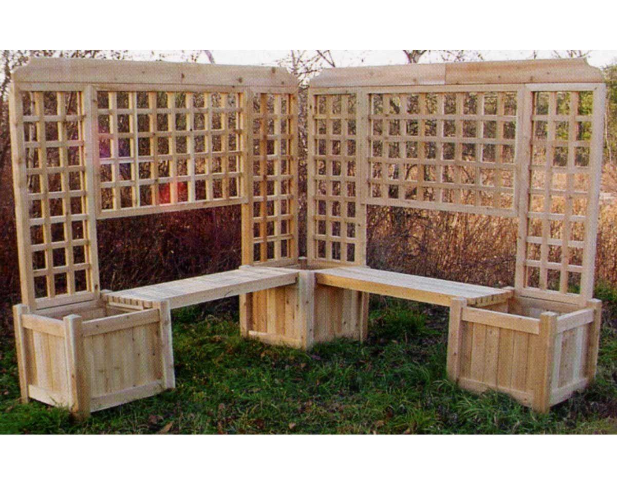 Double Planter Bench W Lattice Planter Bench Diy Garden Decor Backyard Privacy