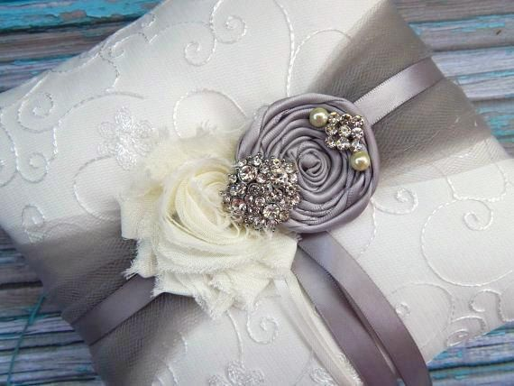 Ring Bearer Pillow  / Grey Ring Bearer Pillow / YOU DESIGN / Silver Grey  Ring Bearer Pillow / Grey Wedding pillow via Etsy