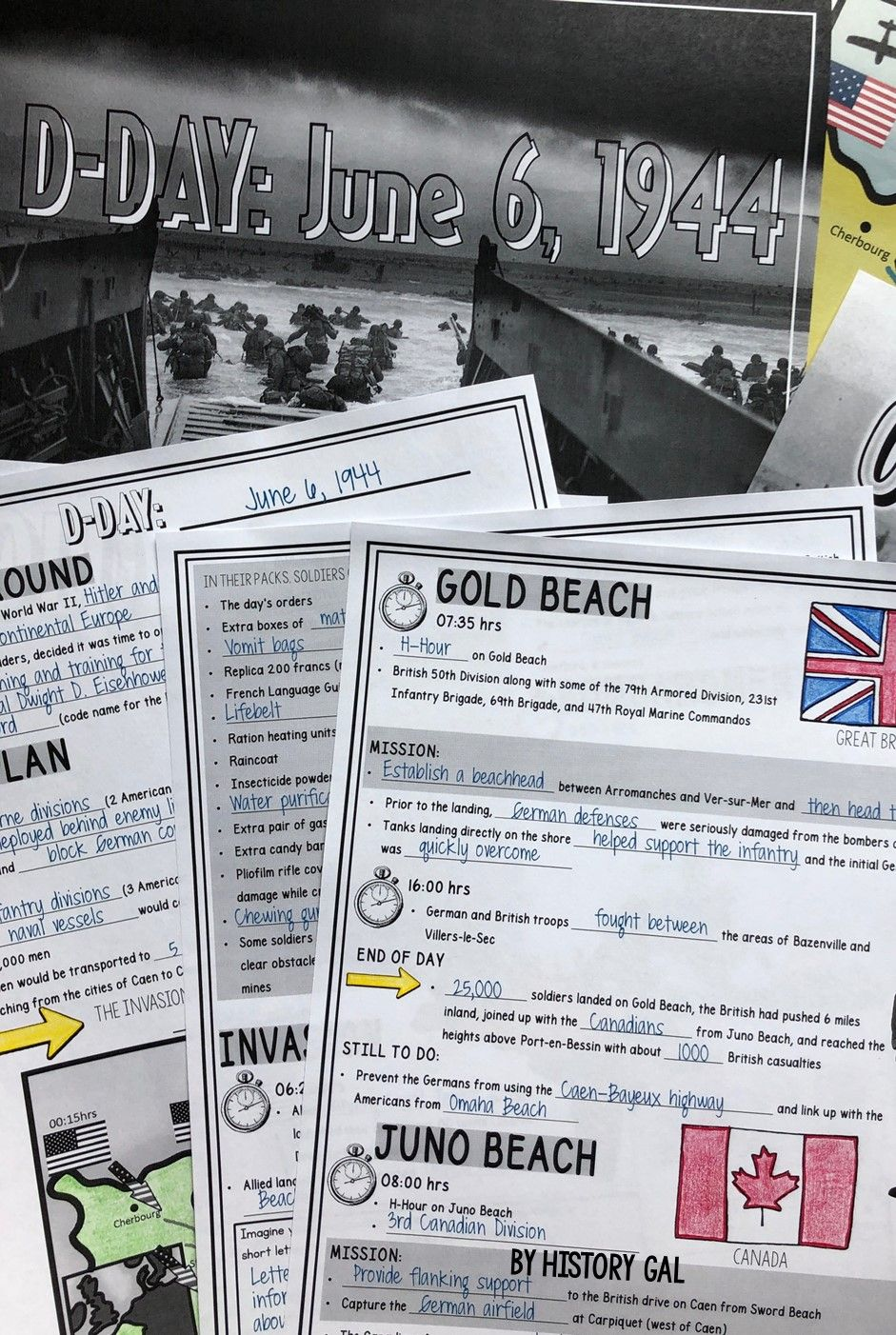 D-Day PowerPoint and Guided Notes | History Gal | Teaching