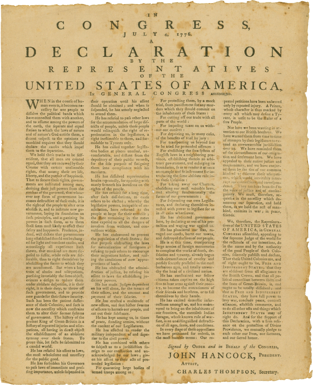 1776 Broadside The Earliest Known Publication In Massachusetts Declaration Of Independence Independence Declaration