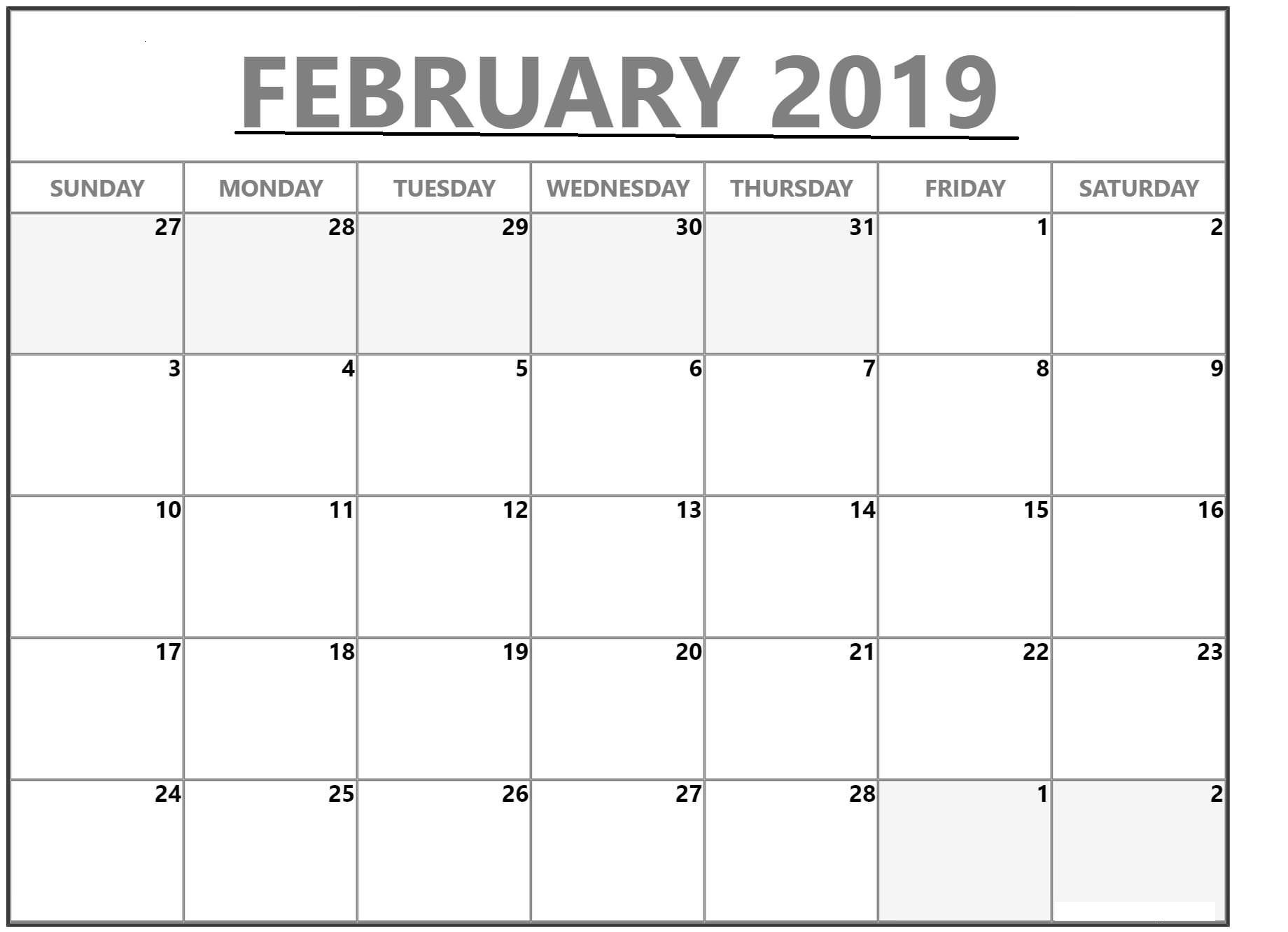 february 2019 calendar template images