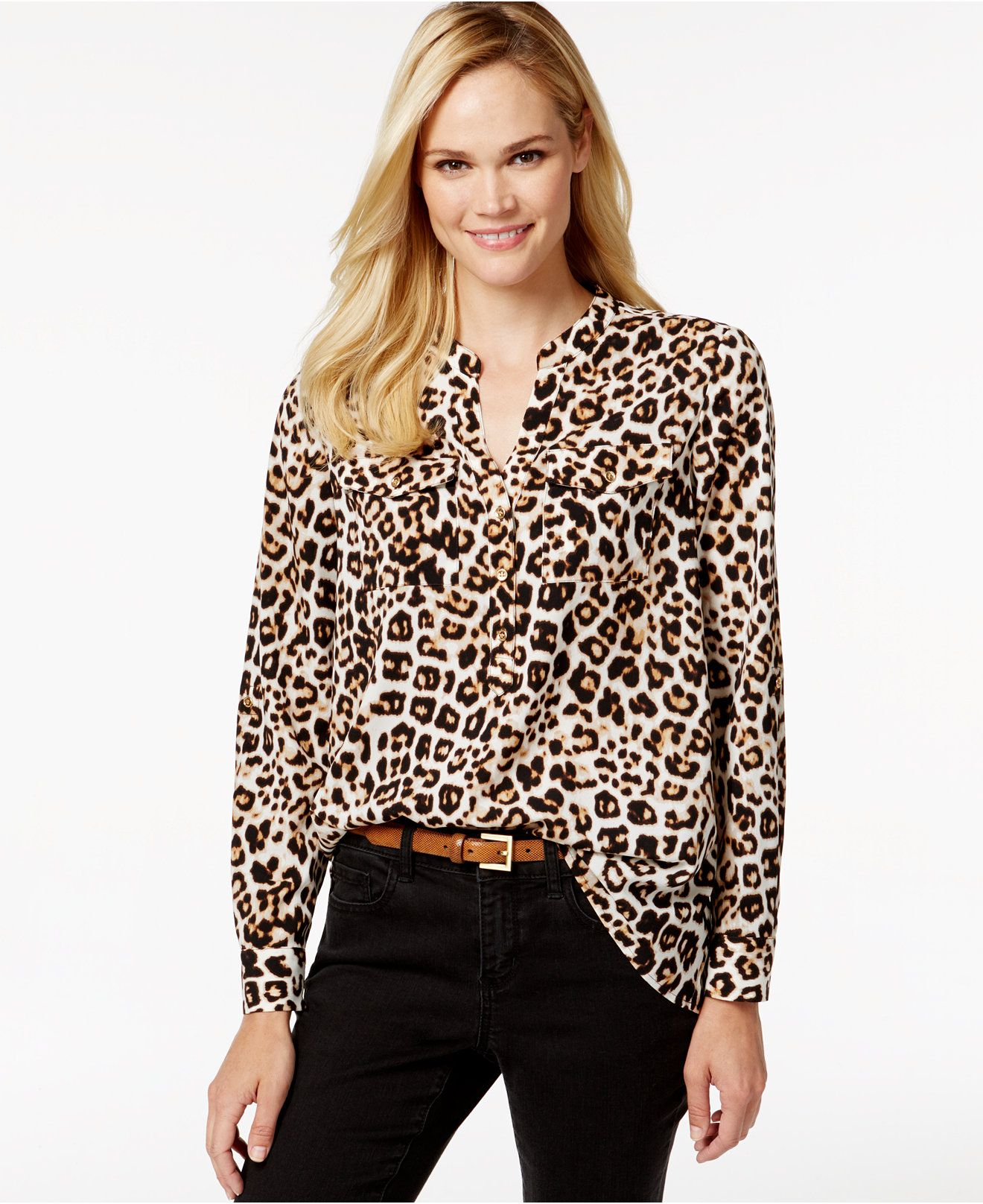 189d6196d2cd8a Charter Club Animal-Print Button-Down Shirt, Only at Macy's - Tops - Women  - Macy's