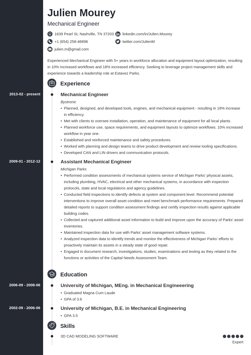 mechanical engineering resume template concept in 2020