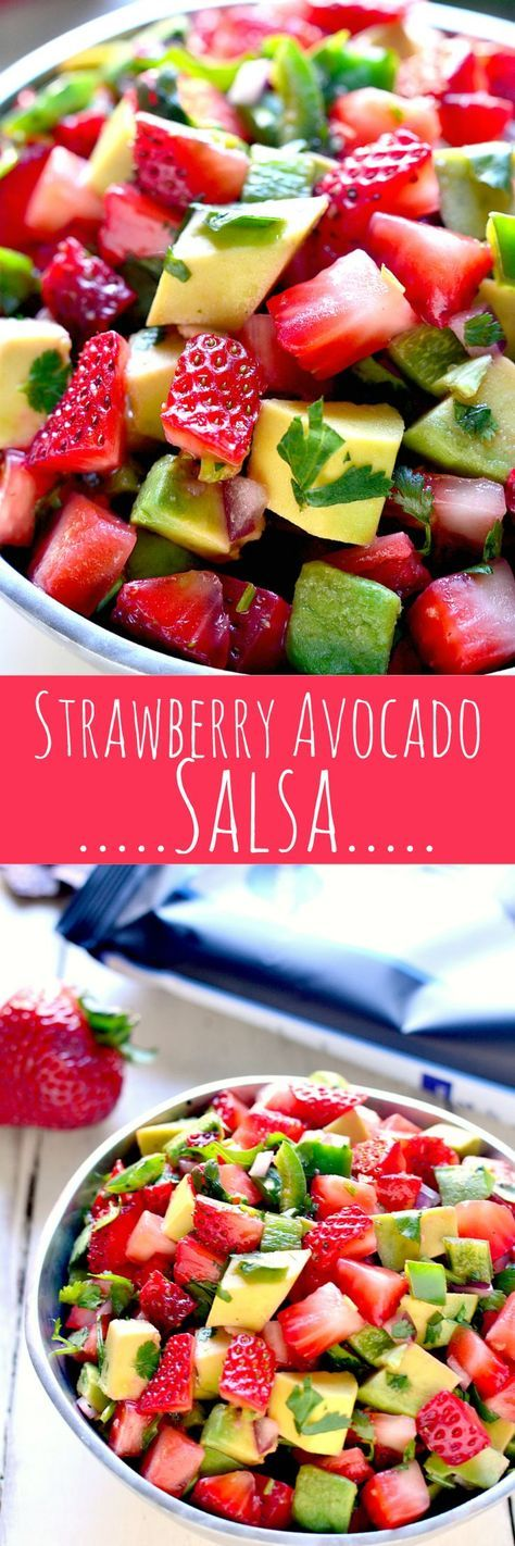 This Strawberry Avocado Salsa is a delicious twist on a favorite! Loaded with fresh strawberries, avocado, jalapeño, and cilantro, it's the perfect summer appetizer! /fstgchips/ #ad