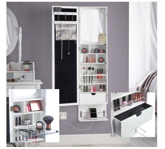 White Led Makeup Organiser Storage Armoire Wall Mounted Full