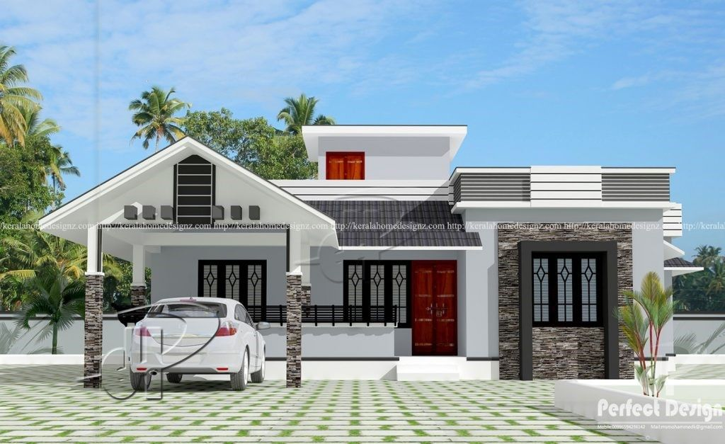 Picture Of 103 Sq M Stylish Single Story Contemporary House Kerala House Design Village House Design House Design Pictures