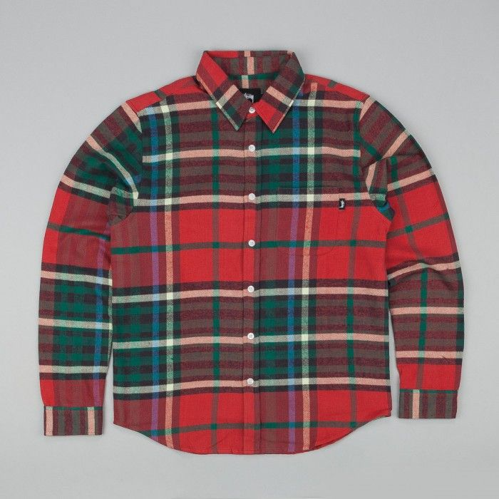 Stussy Big Plaid Long Sleeve T-Shirt - Red