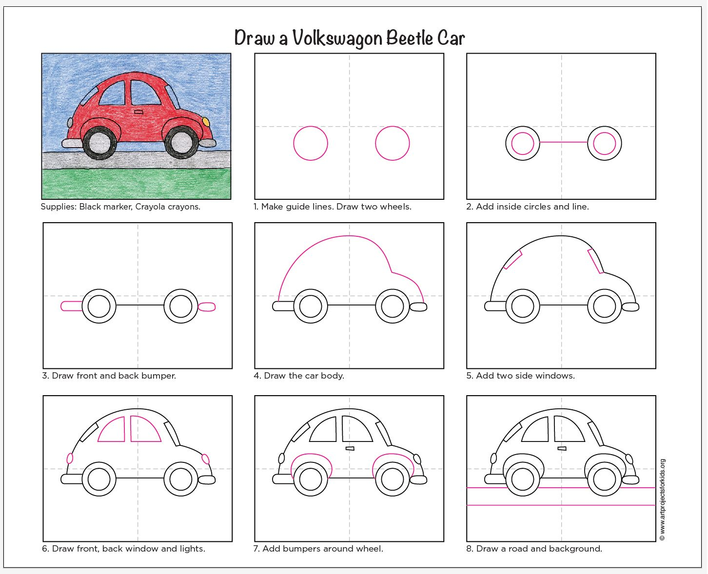 Draw A Vw Beetle Car Art Projects For Kids Car Drawing Kids Kids Art Projects Easy Drawings