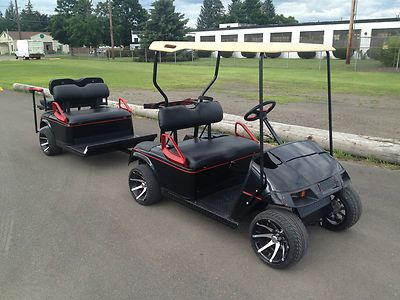 EZGO Golf Cart with Sweet Matching Custom Made Trailer | Golf carts Golf Cart With Quad Motor on quad atv, bag boy quad cart, quad push cart, quad trailer,
