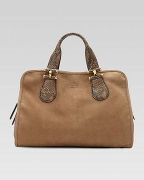 c46019678 Gucci Twice Suede and Python Top Handle Bag, Tan on shopstyle.com ...