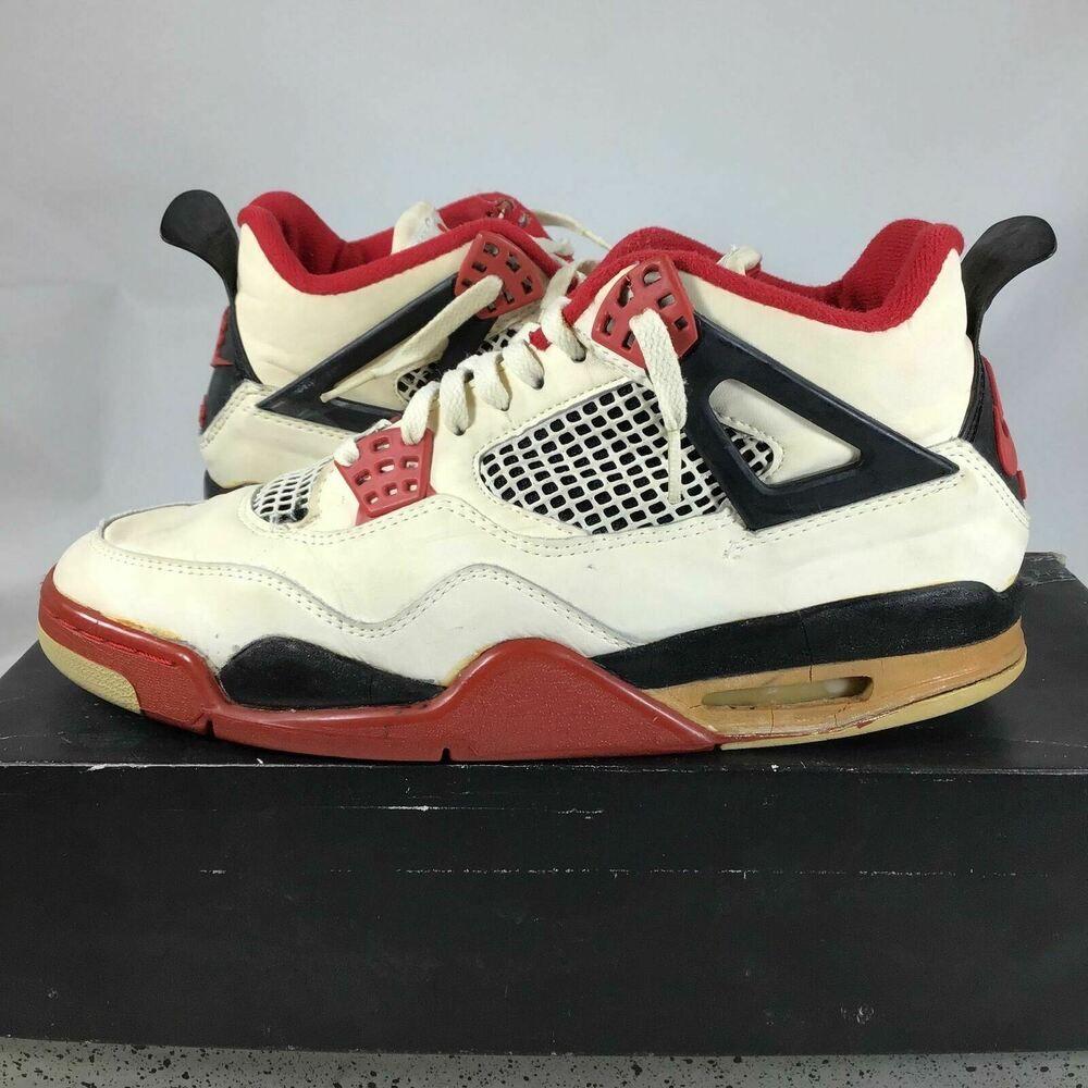 Rare 1989 Air Jordan 4 Og 4364 Fire Red Sz 9 Used 1989 Box See Details J5 Air Jordans Black Casual Shoes Nike Casual Shoes