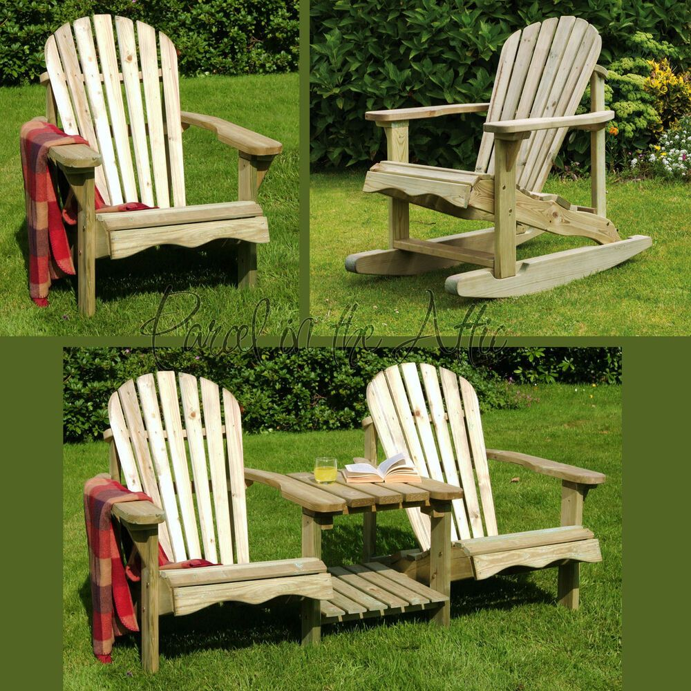 Details about Murcia Solid Wood Outdoor Adirondack Chair