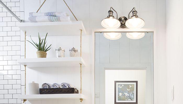 rope shelf with toiletries Our House Pinterest Rund ums - kleine moderne badezimmer