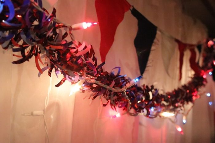50 Red White Blue Mini Lights 4 inch White Wire Blue christmas