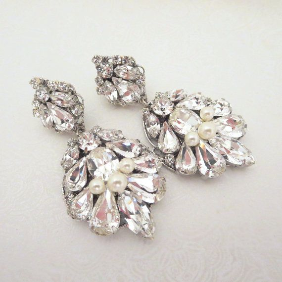 Teardrop Wedding Earrings Crystal Bridal Jewelry Chandelier Swarovski Vintage