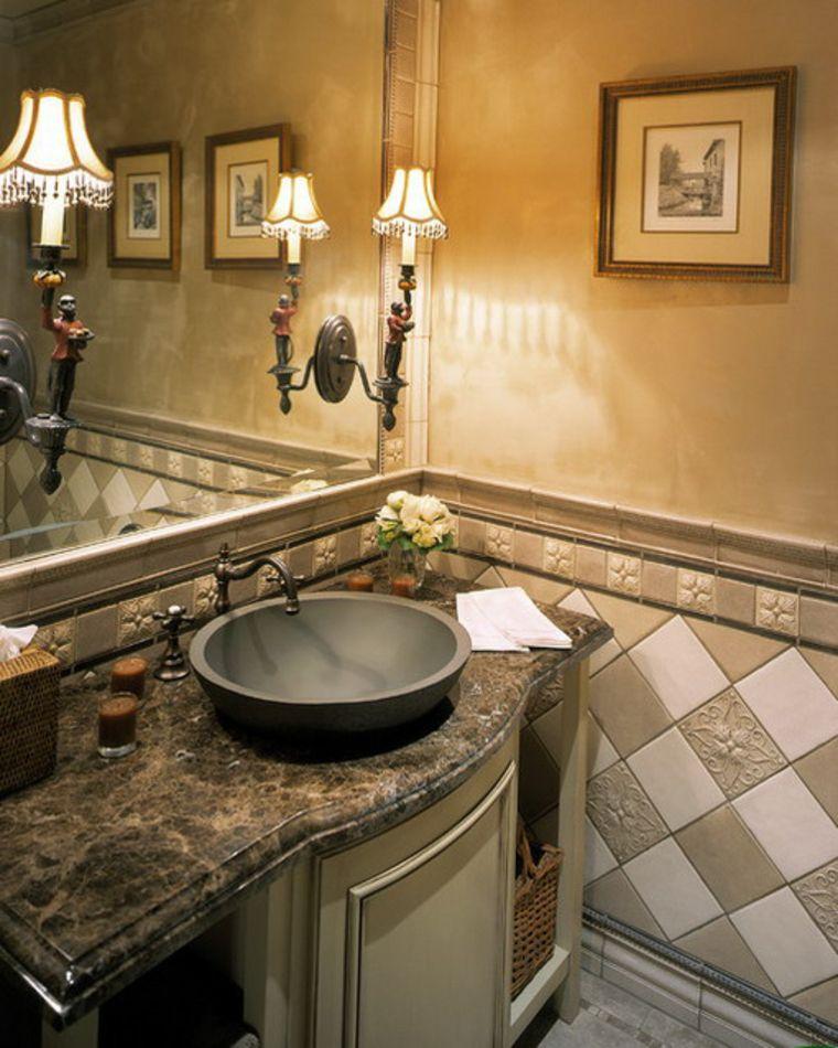 Decorando Baños: Decoracion-baños-pequeños-marmol-cuadro