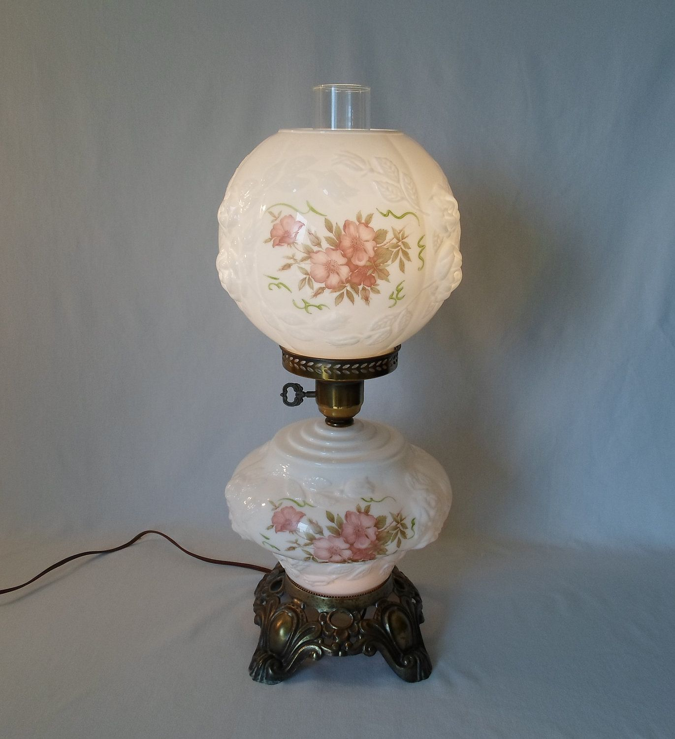Antique Lamps Rose Print Globe Vintage Gone With The Wind Lamp Hurricane Hand Painted Wild