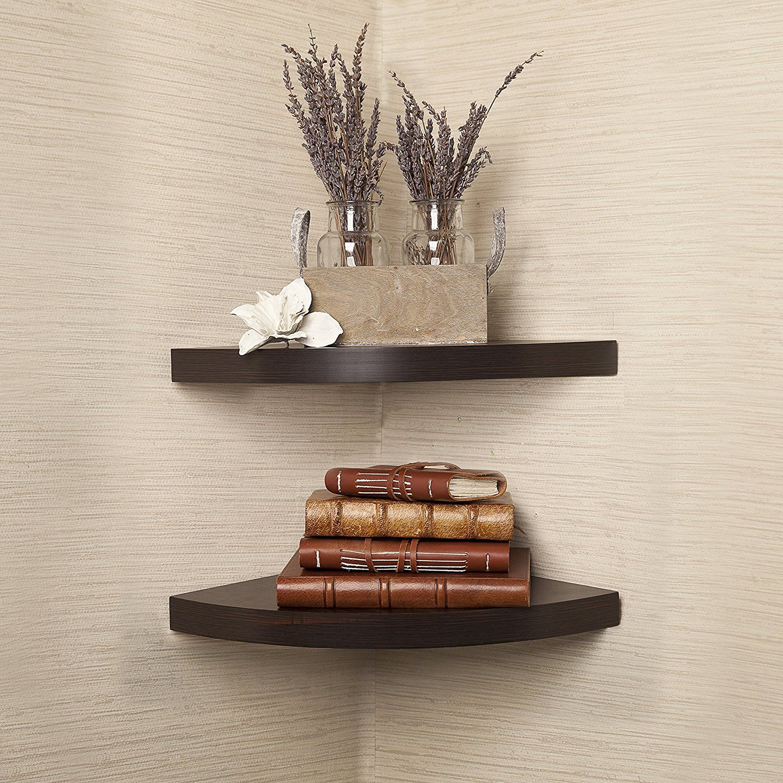 Danya B Xf11115 2 Laminate Corner Radial Shelves Set Of 2 Walnut You Can Find Out More Detail Corner Wall Shelves Large Corner Shelf Floating Wall Shelves