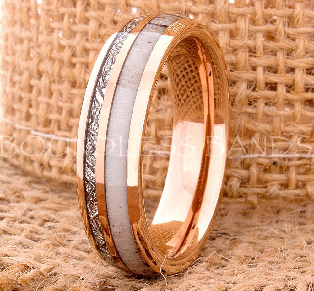Tungsten Ring Tungsten Wedding Ring Meteorite Deer Antler