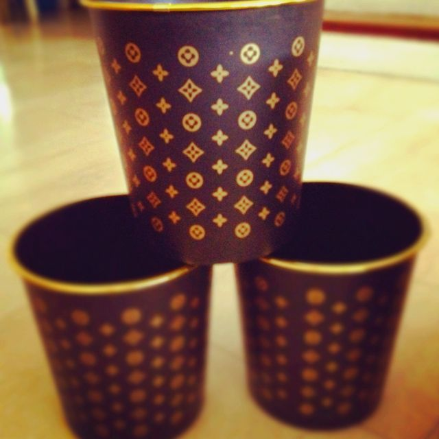 Fake Louis Vuitton trash cans! Love them!