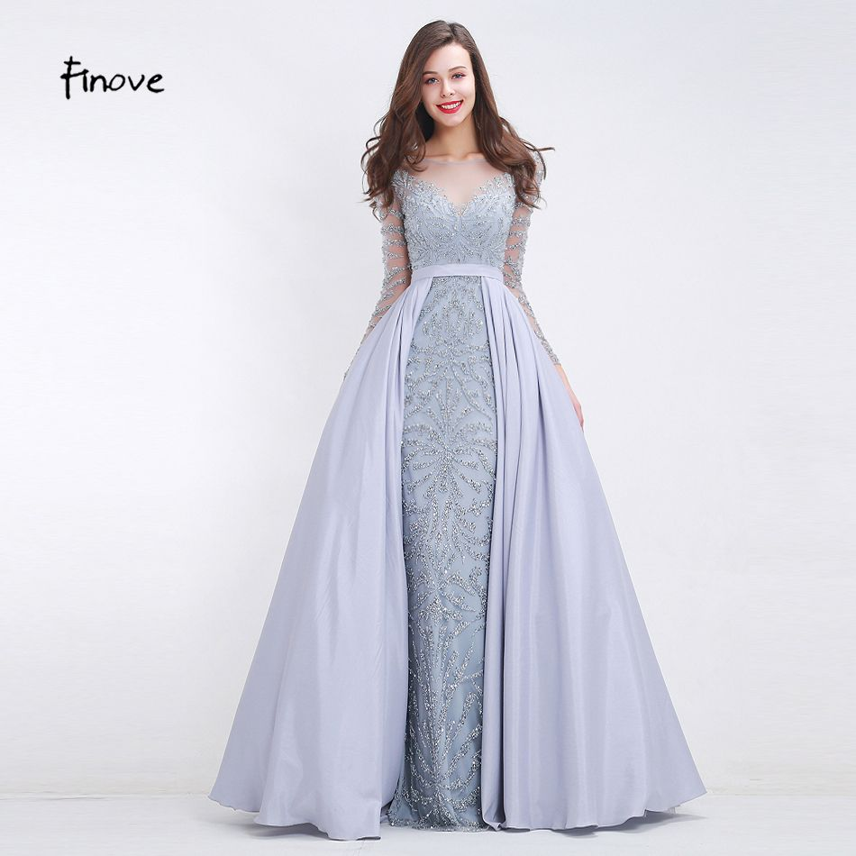 Finove heavy beading prom dresses new styles see through tulle