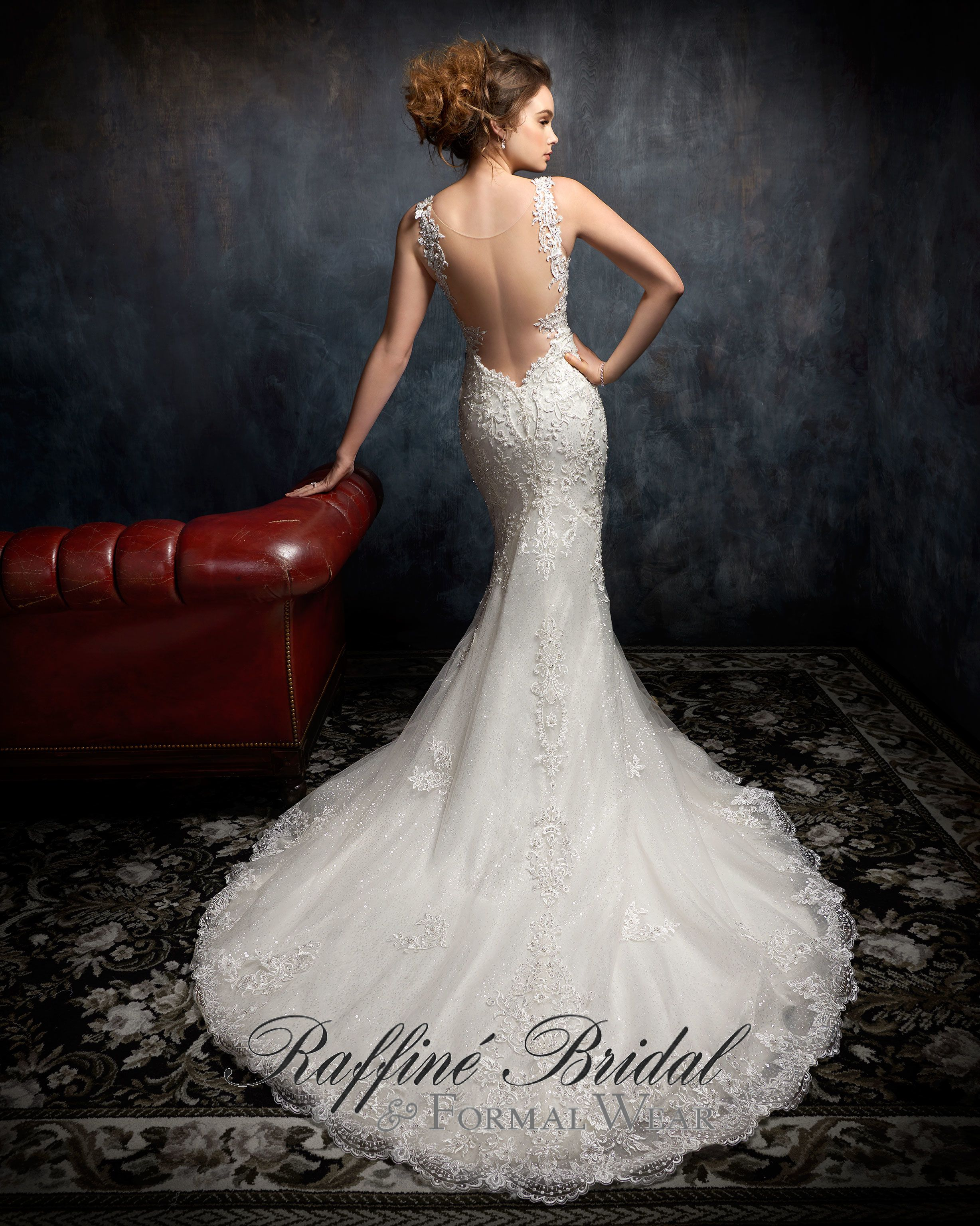Kenneth Winston 1751 Sheath Style Lace Gown With All Over Beading