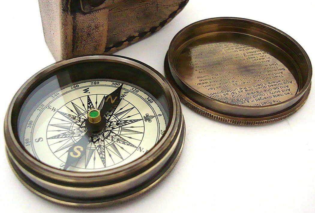 Maritime Brass Compass Dollond London Poem in Designer Brass Work Leather Case