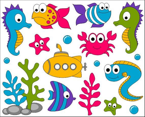 Under The Sea Clip Art, Ocean Digital ClipArt, Bright Cute Fishes, Sea Plants, Submarine, Seahorse, Crab – Instant Download – YDC022