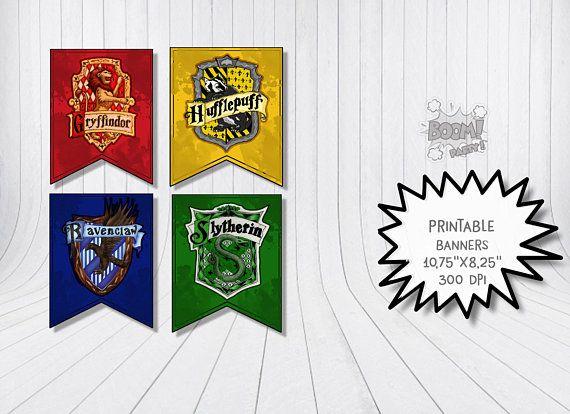 Printable Hogwarts Banners Harry Potter Gryffindor Ravenclaw Hufflepuff Slytherin House Banner