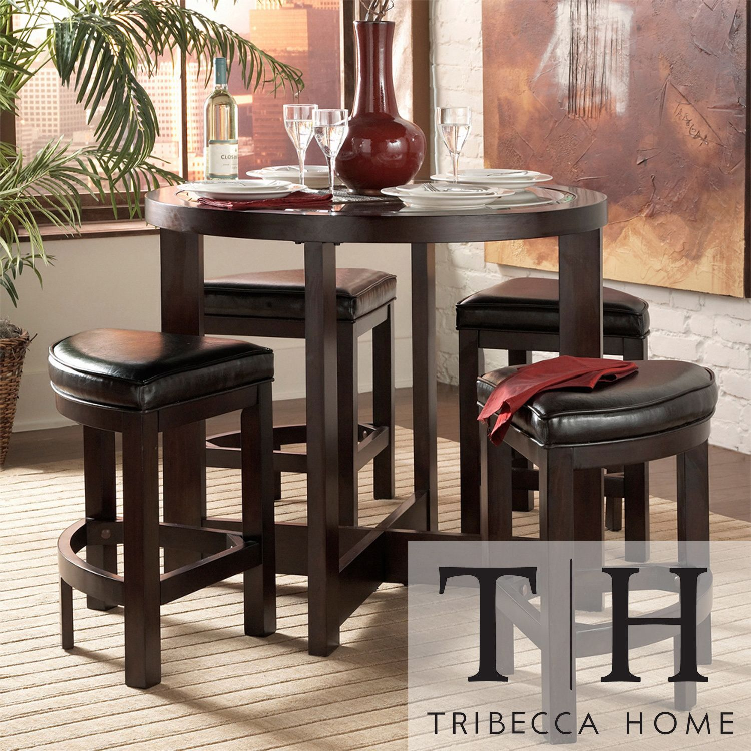 Capria Pub Set Features Clean Lines And Wedge Seating For A Stunning Pub Height Dining Room Sets Review