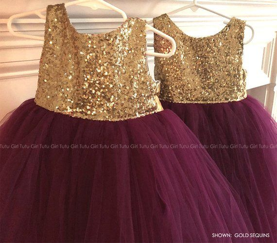 02143f835cc Gold Sequins with Burgundy Wine Tulle Skirt - Flower Girl Dress