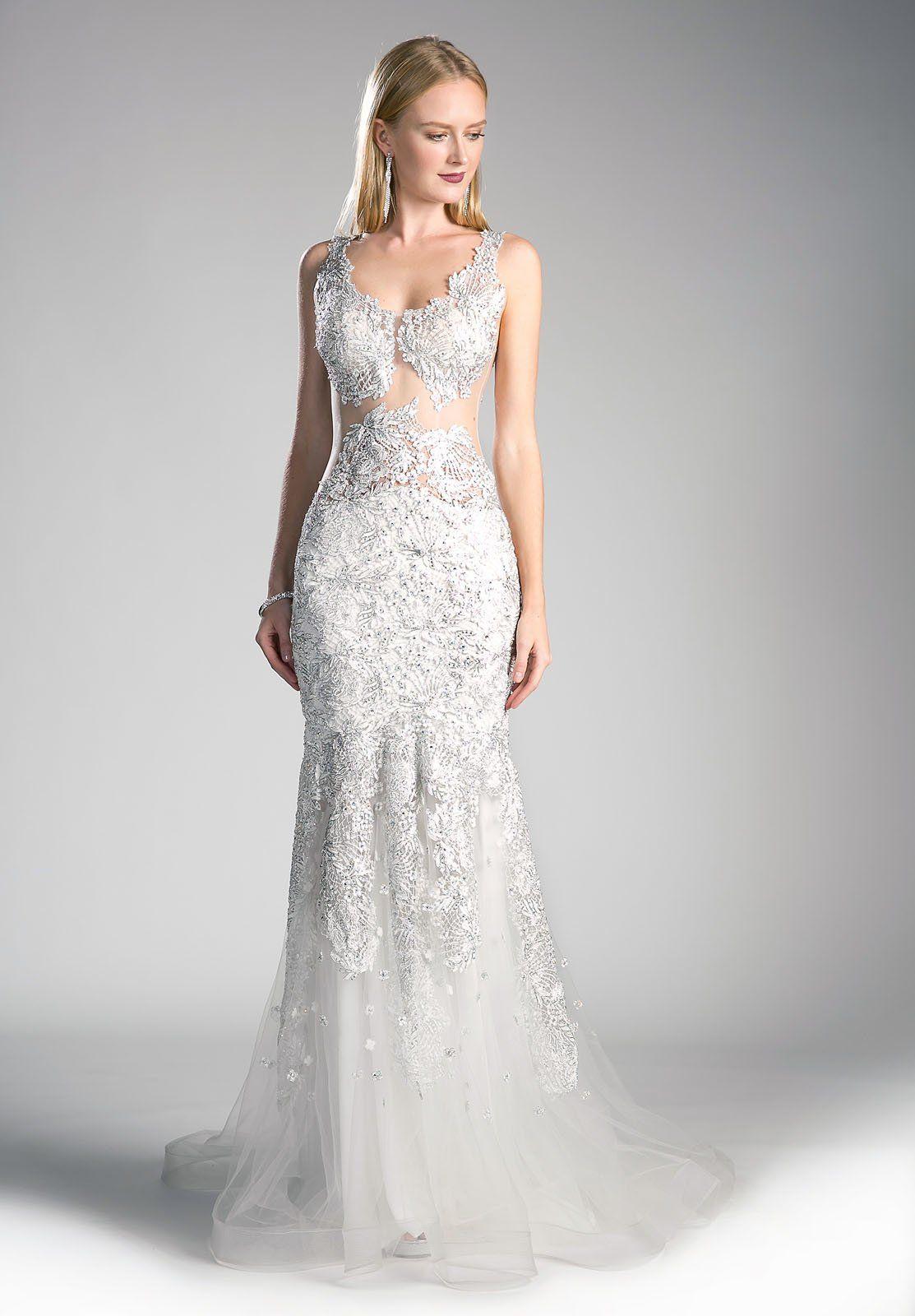 Peach mermaid appliqued prom gown sheer midriff bodas pinterest