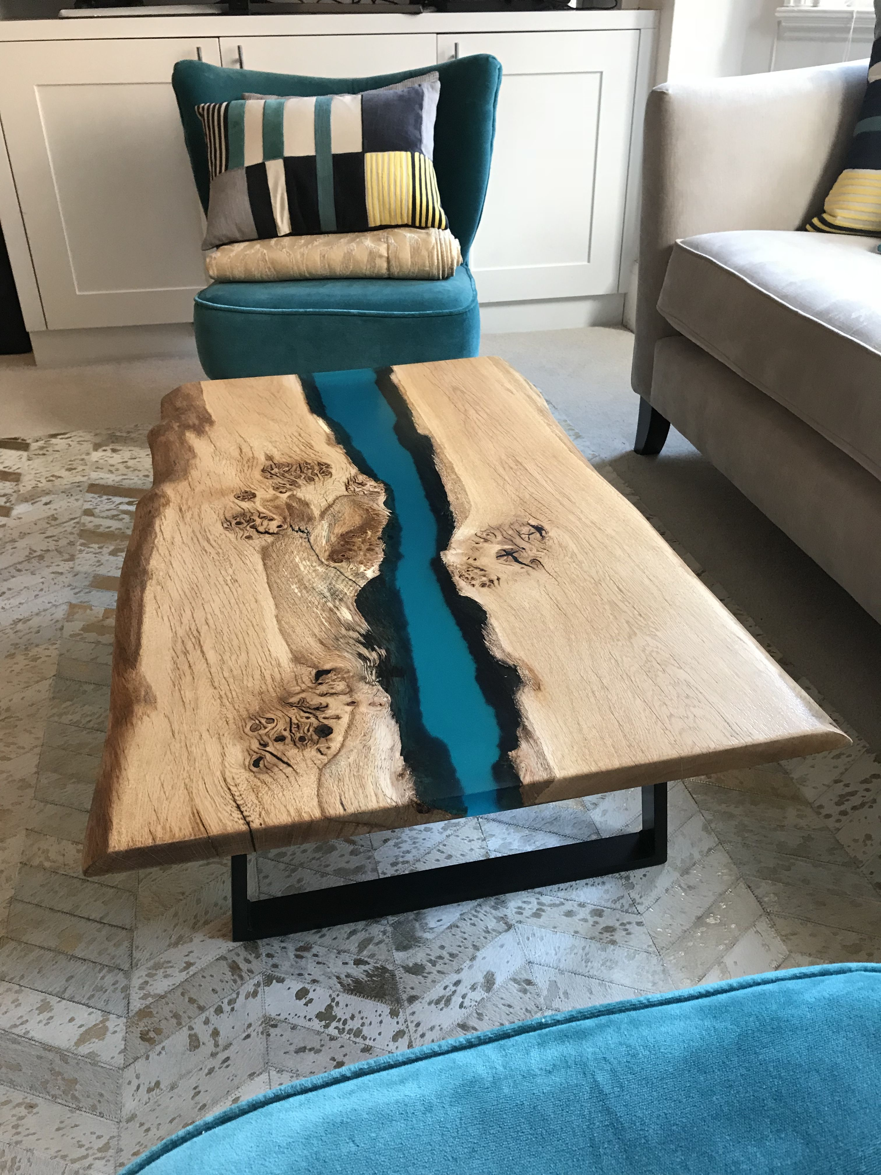 Scottish Oak Resin River Coffee Table On Black Powder Coated Legs