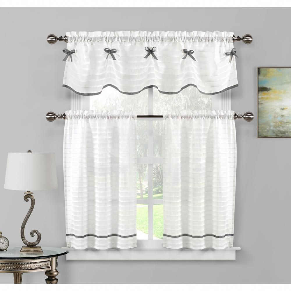 Duck River Carlee Kitchen Valance in White-Silver - 15 in. W ...