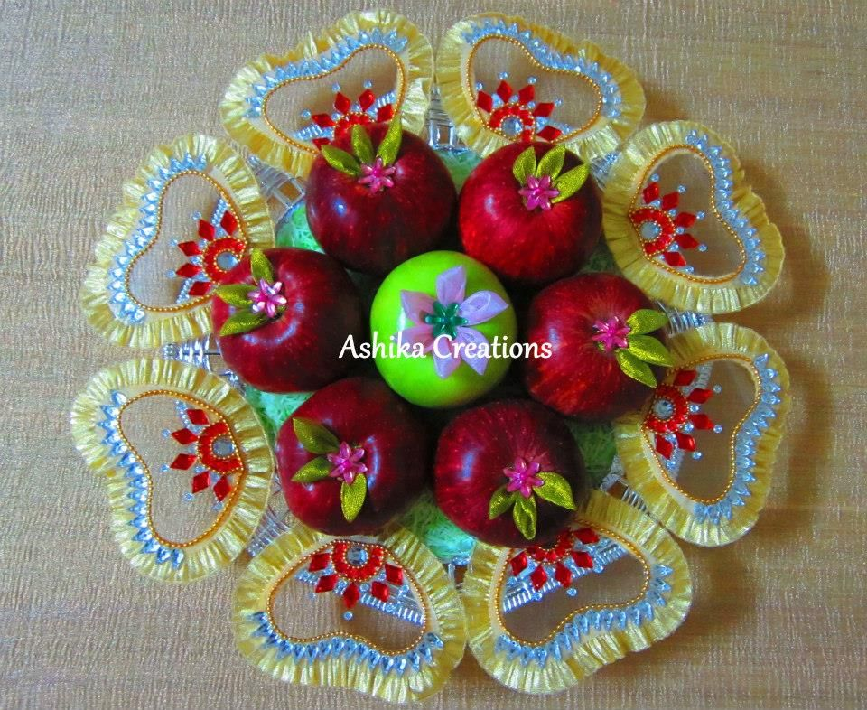 Red and Green Apple Fruit Decoration & Red and Green Apple Fruit Decoration | Plate Decoration | Pinterest ...
