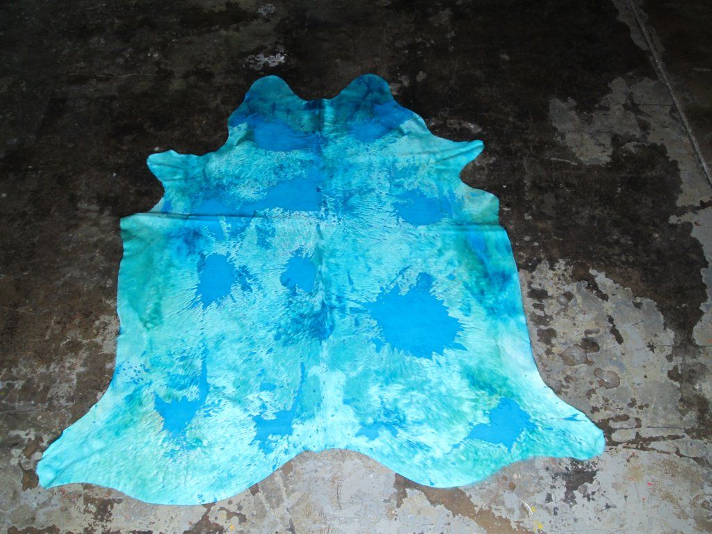 6 4 X 7 3 Aqua Blue Cowhide Cow Hide Rug Shabby Chic Area