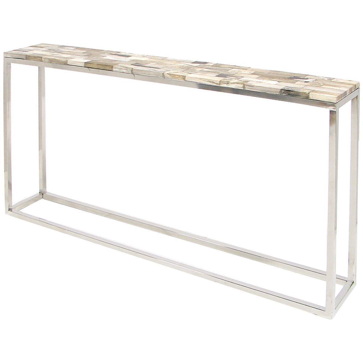 Palecek Mosaic Petrified Wood Console Table   Thin