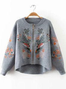 c060306e639063 Pullover Mantel mit Reißverschluss Strickereien Vorne Kurz Hinten Lang-grau