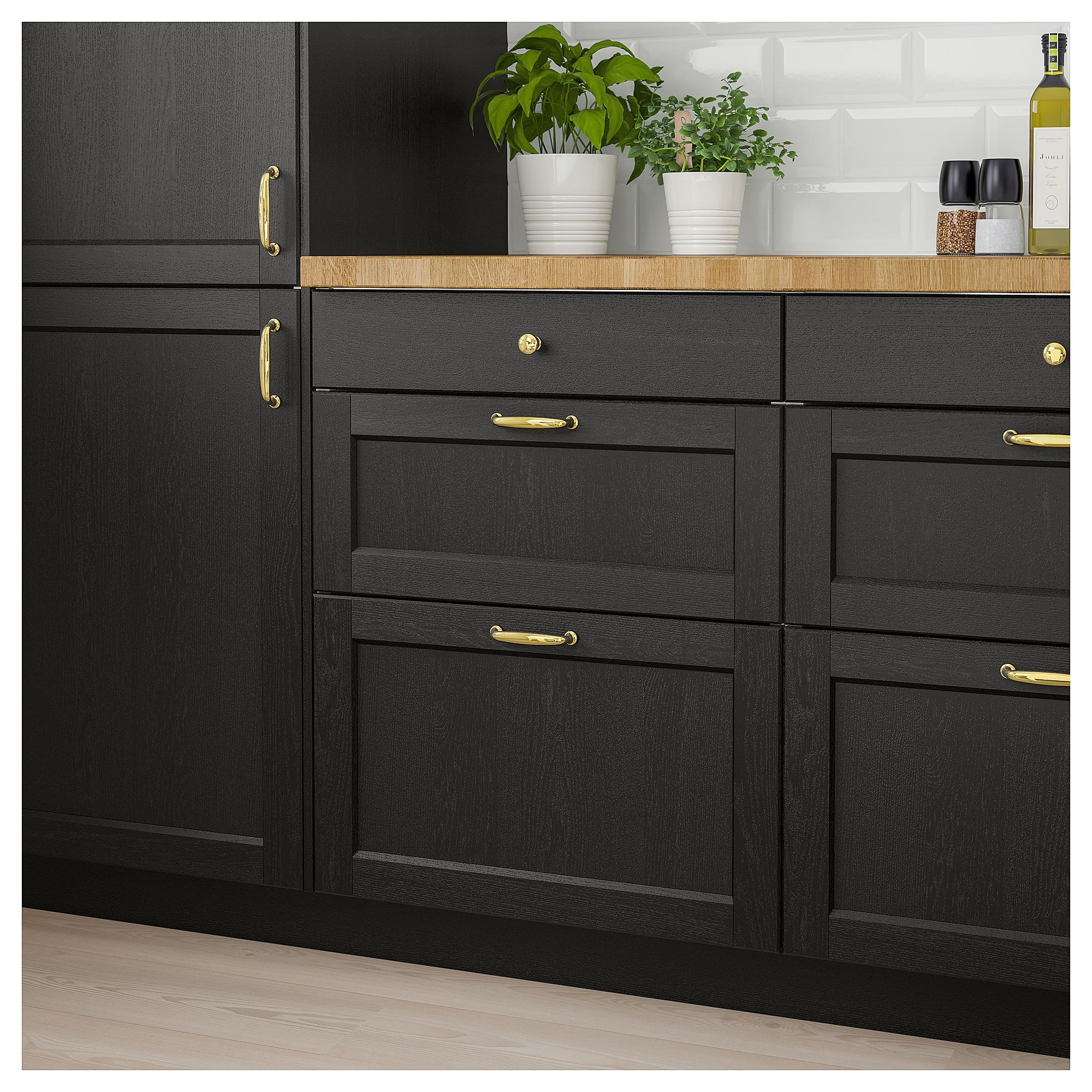 Black Kitchen Units Sale: LERHYTTAN Drawer Front Black Stained In 2019