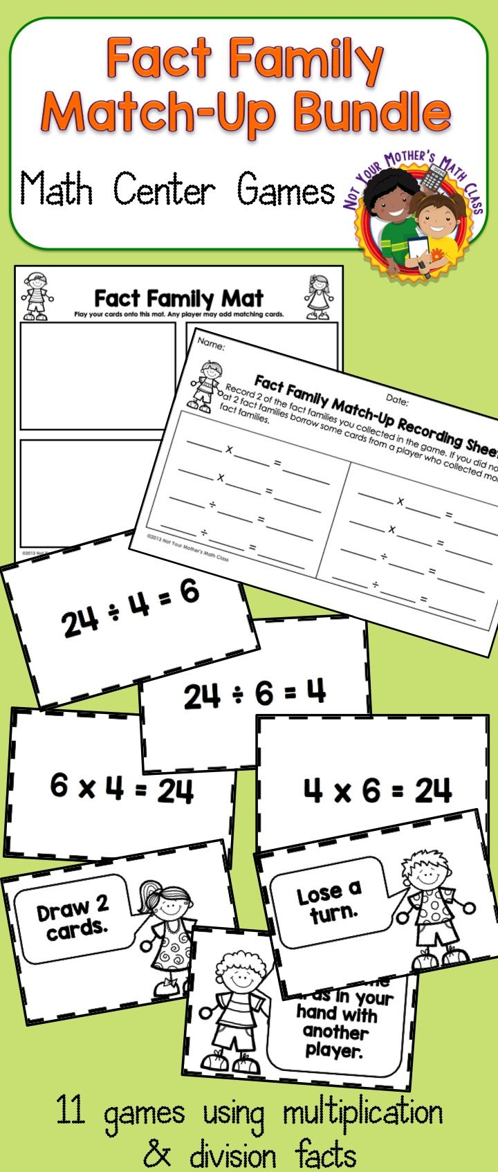Multiplication Division Fact Family Match Up Bundle Fact