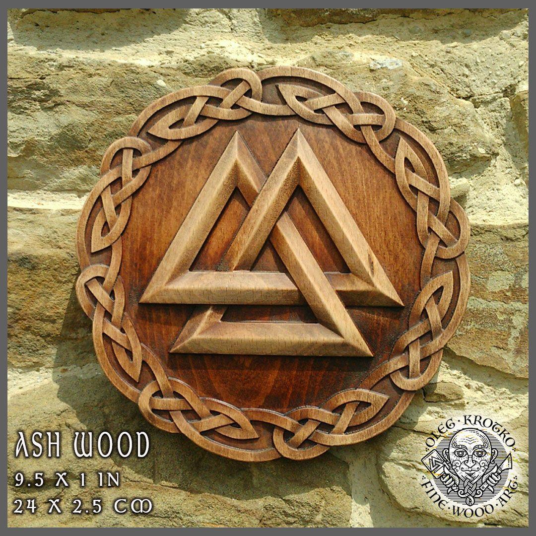 Walknut Viking Home Decor Knotwork Art Norse Thor Odin Wood Picture Pagan S Carving Heathen Asatru Celtic Rune Wall Hanging