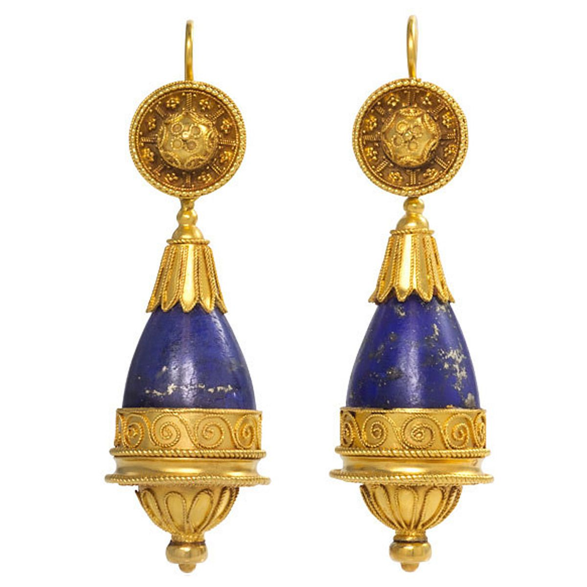 Antique Lapis Gold Etruscan Style Earrings A Pair Of And In The With Pendulum Shaped Pendants 18k C 1870