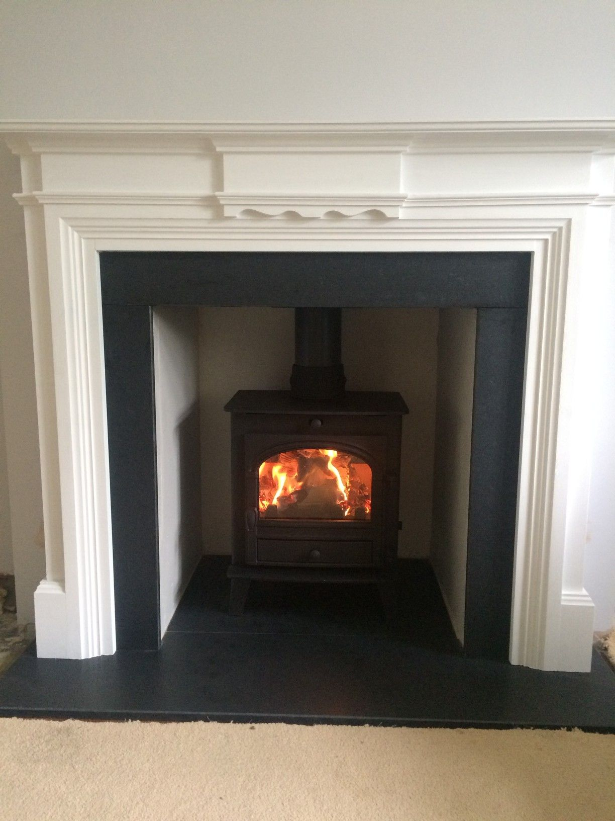 Multi Fuel Stove In Chamber With Honed Granite Slips Set And Hearth Multi Fuel Stove Stove Hearth