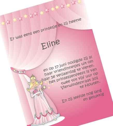 Flessenpost uitnodiging prinsessenfeest. Drukwerk voorbeeld. Andere ideetjes. Laat het ons weten en wij maken het !