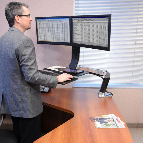 Ergotron Workfit A Dual Monitor Standing Desk Mount