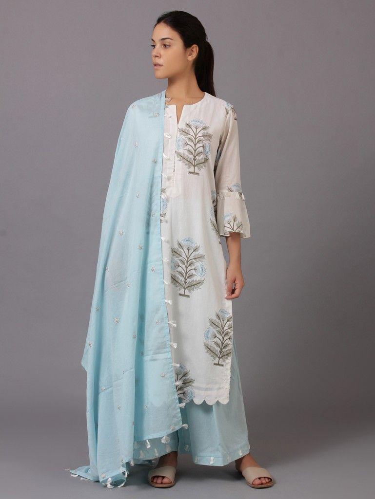 eb0f9de799 White Blue Floral Printed Cotton Suit - Set of 3