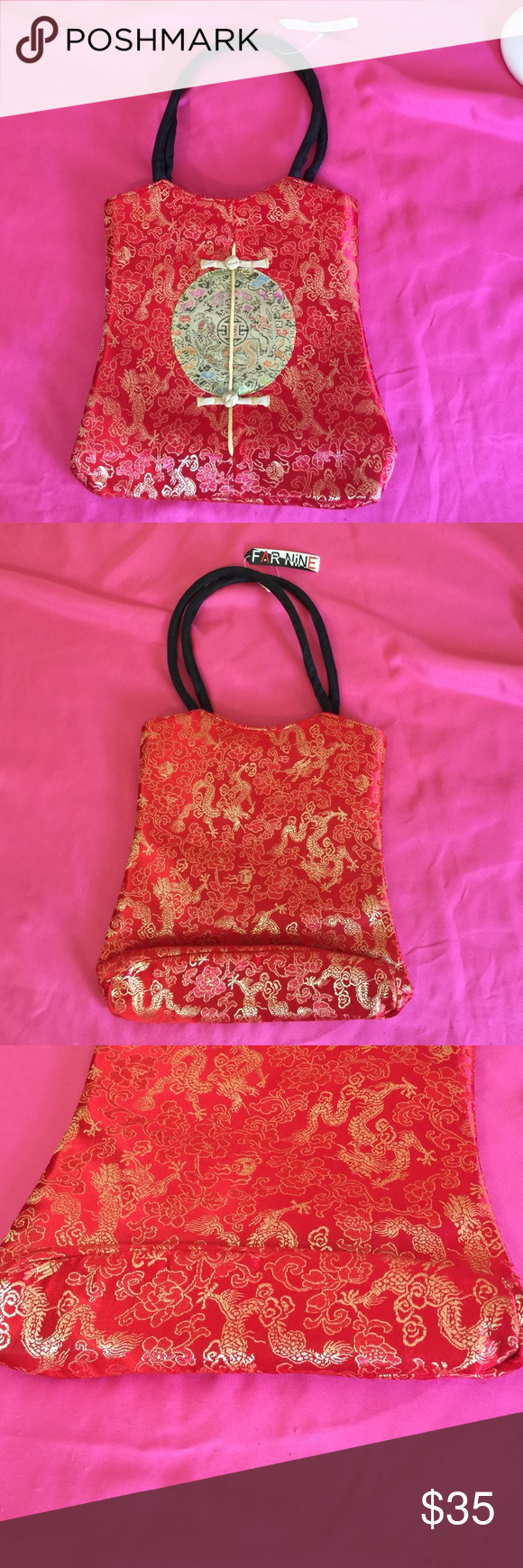 """Red Oriental Handbag This is a red oriental handbag. Never used. Approximate dimensions: L (10 1/2"""") x H (11 1/2"""") x W (2 1/2""""). Firm Price. Bags"""