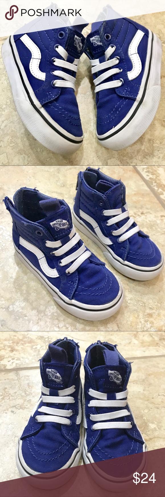 266e4b31c4c Toddlers Vans Sk8-Hi Zip- Royal Blue   White Size 6. Canvas upper ...