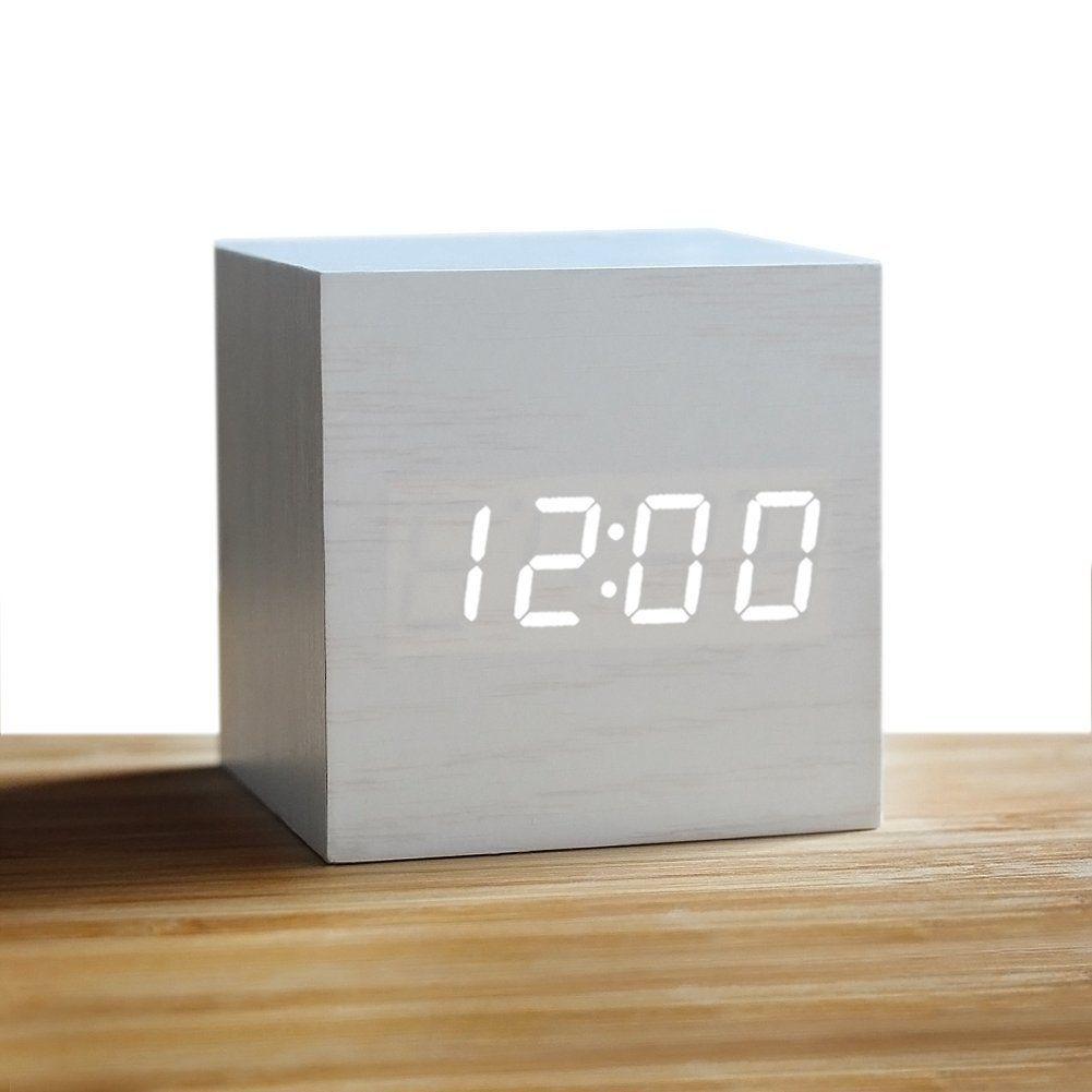 Amazon Com Wood Alarm Clock Digital Led Light Minimalist Mini
